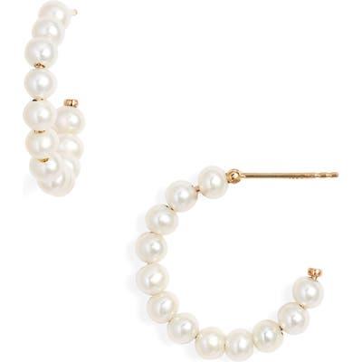 Poppy Finch Medium Baby Pearl Hoop Earrings