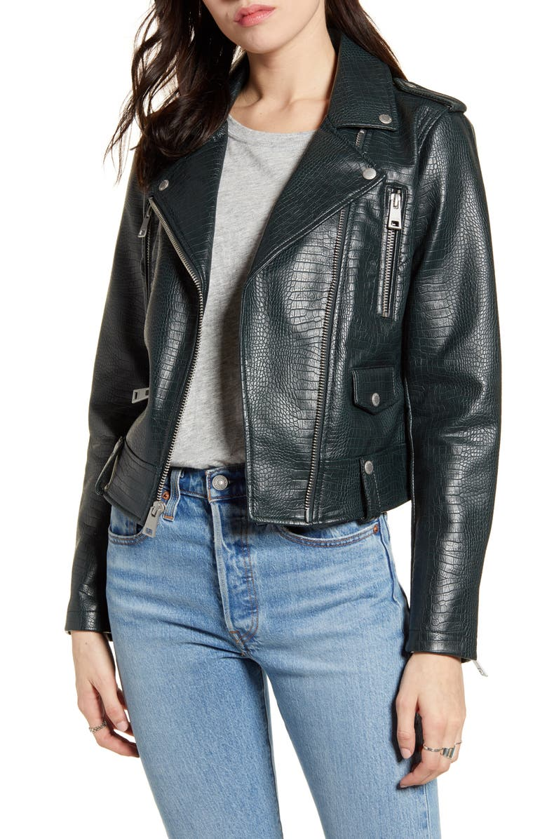LEVI'S<SUP>®</SUP> Faux Leather Moto Jacket, Main, color, GREEN CROC