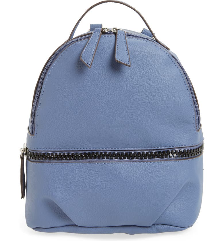 T-SHIRT & JEANS Textured Faux Leather Mini Backpack, Main, color, Blue