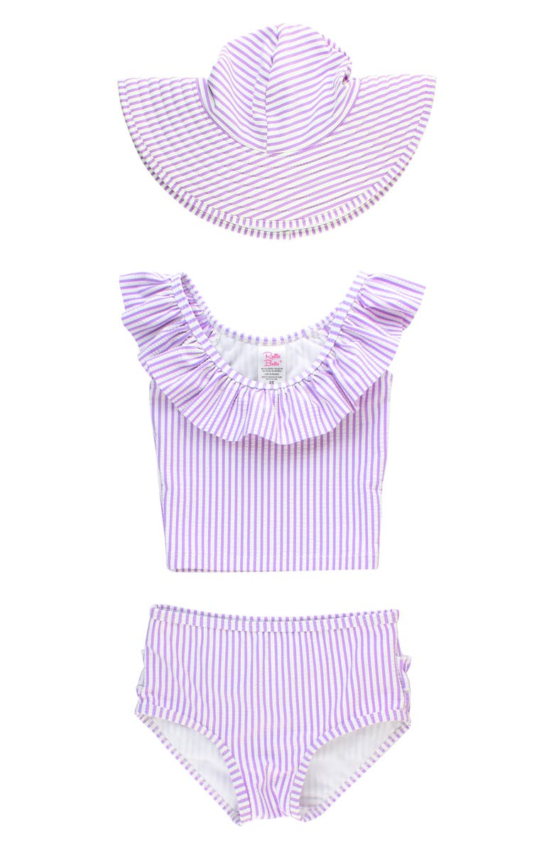 RUFFLEBUTTS Lilac Seersucker Two-Piece Swimsuit & Hat, Main, color, LILAC