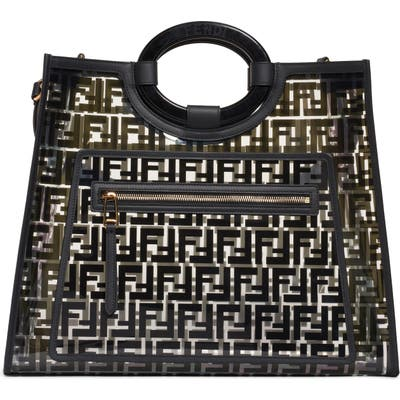 Fendi Medium Runway Logo Transparent Shopper - Black