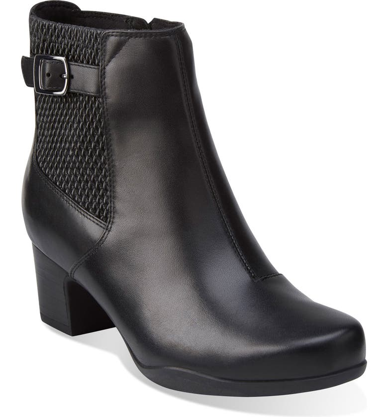 CLARKS<SUP>®</SUP> Rosalyn Lara Waterproof Boot, Main, color, BLACK LEATHER