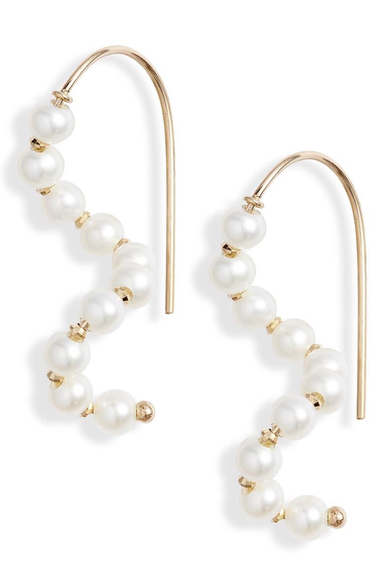 POPPY FINCH Short Wave Pearl Drop Earrings, Main, color, YELLOW GOLD/ PEARL