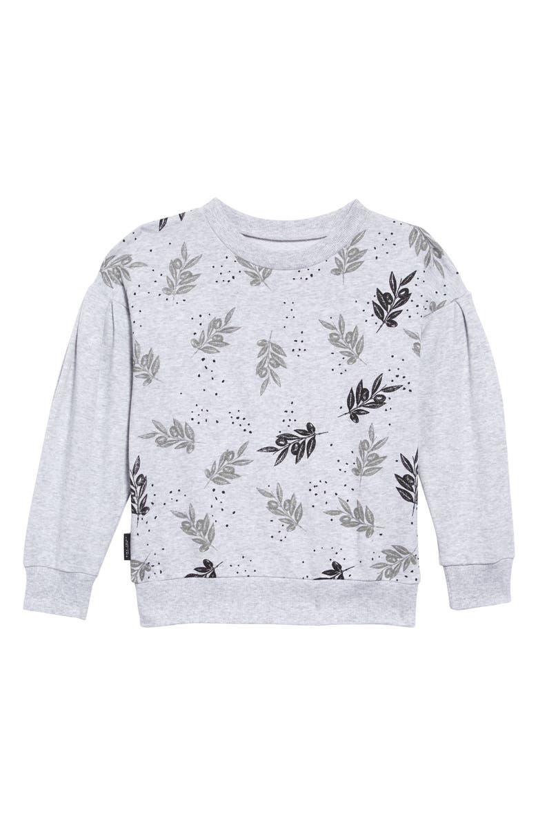 TINY TRIBE Leaves Print Sweatshirt, Main, color, GREY MARLE