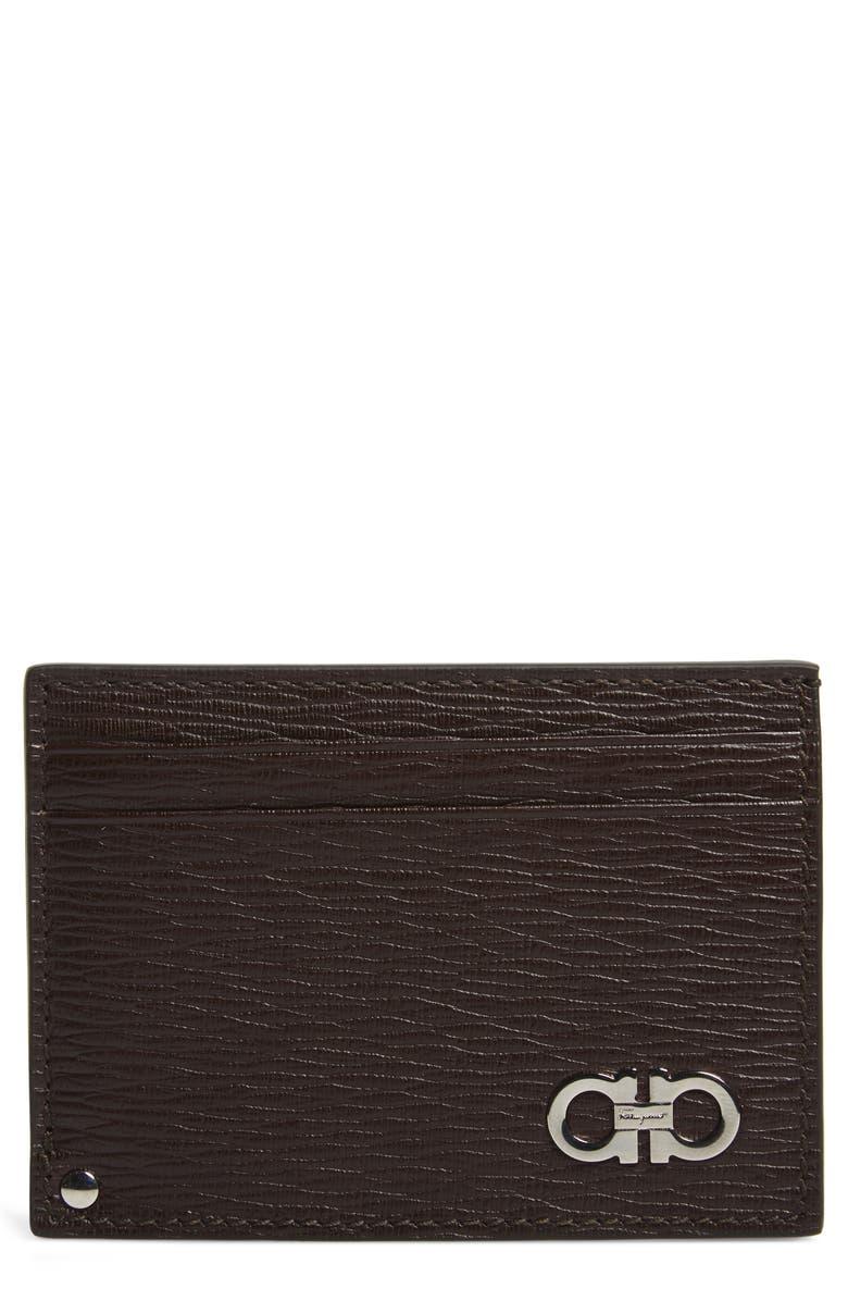 SALVATORE FERRAGAMO Leather Card Case, Main, color, TOBACCO / BLUE MARINE