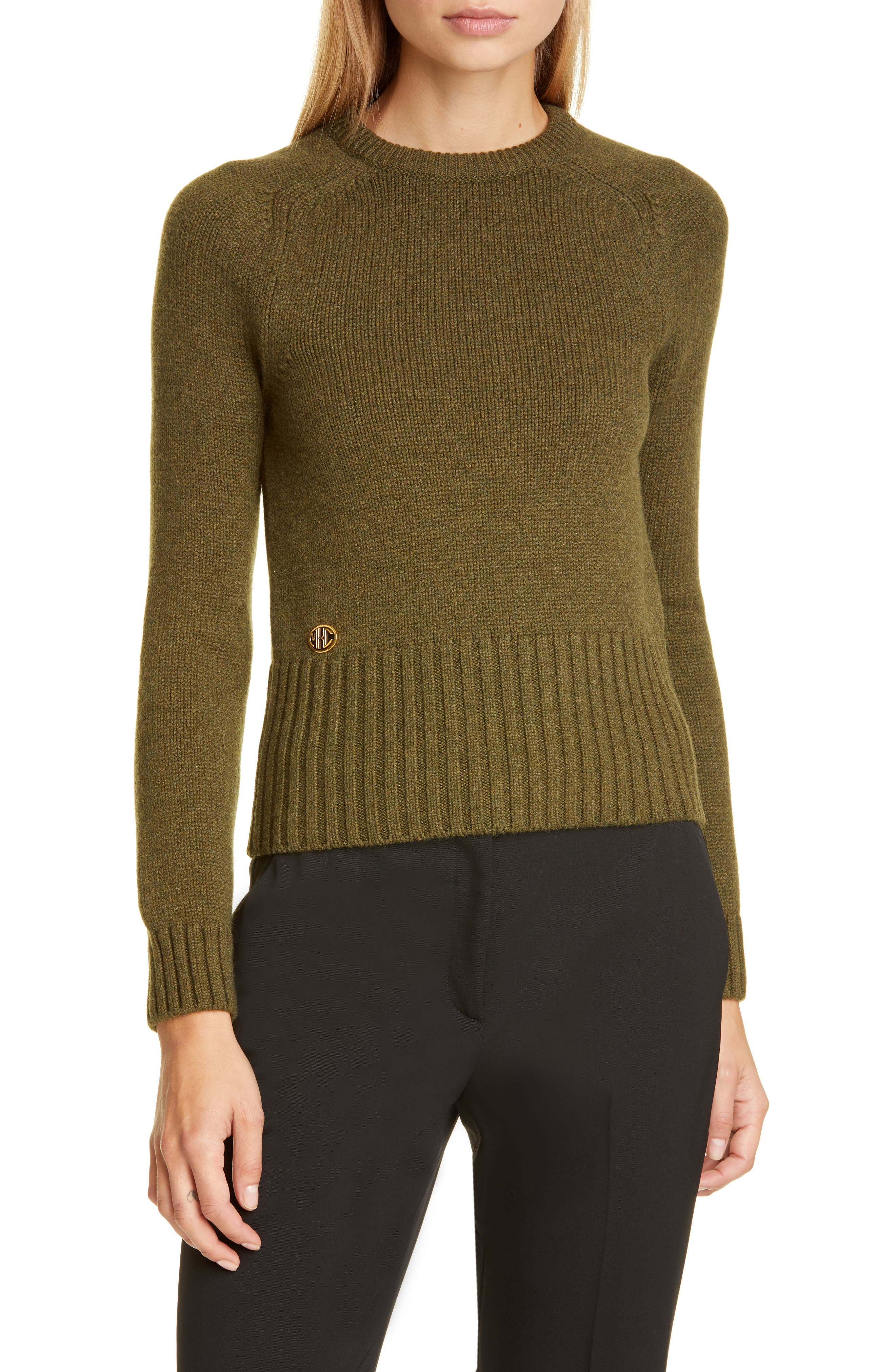 A logo plate gleams above the elongated ribbed hem of this snug crewneck pullover knit from supple Italian cashmere in an earthy hue. Style Name: Michael Kors Collection Logo Monogram Cashmere Sweater. Style Number: 5876889. Available in stores.