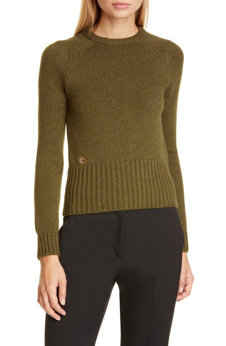 MICHAEL KORS COLLECTION Logo Monogram Cashmere Sweater, Main, color, SPRUCE
