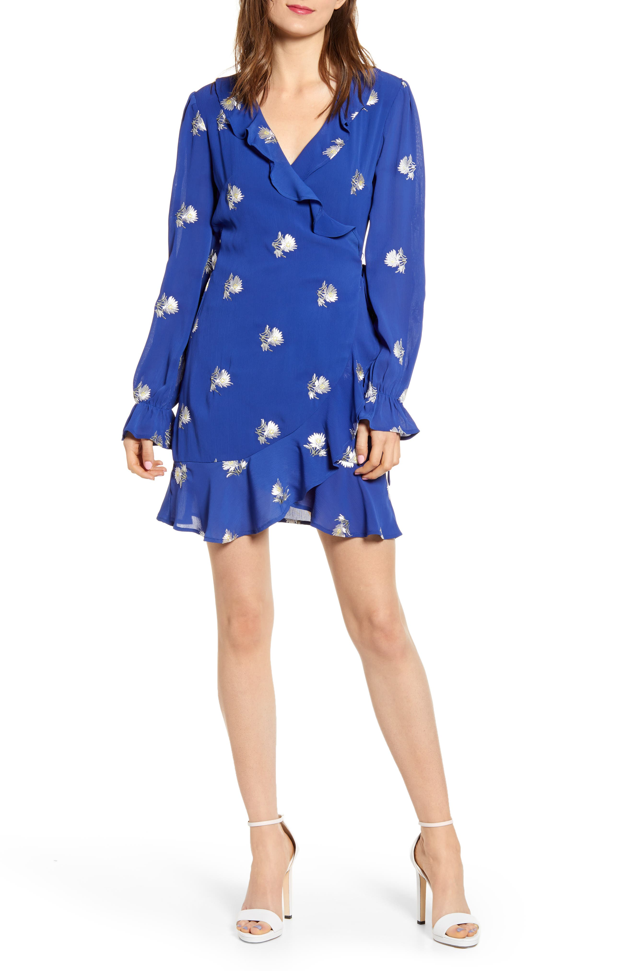 Endless Rose Embroidered Wrap Dress, Blue