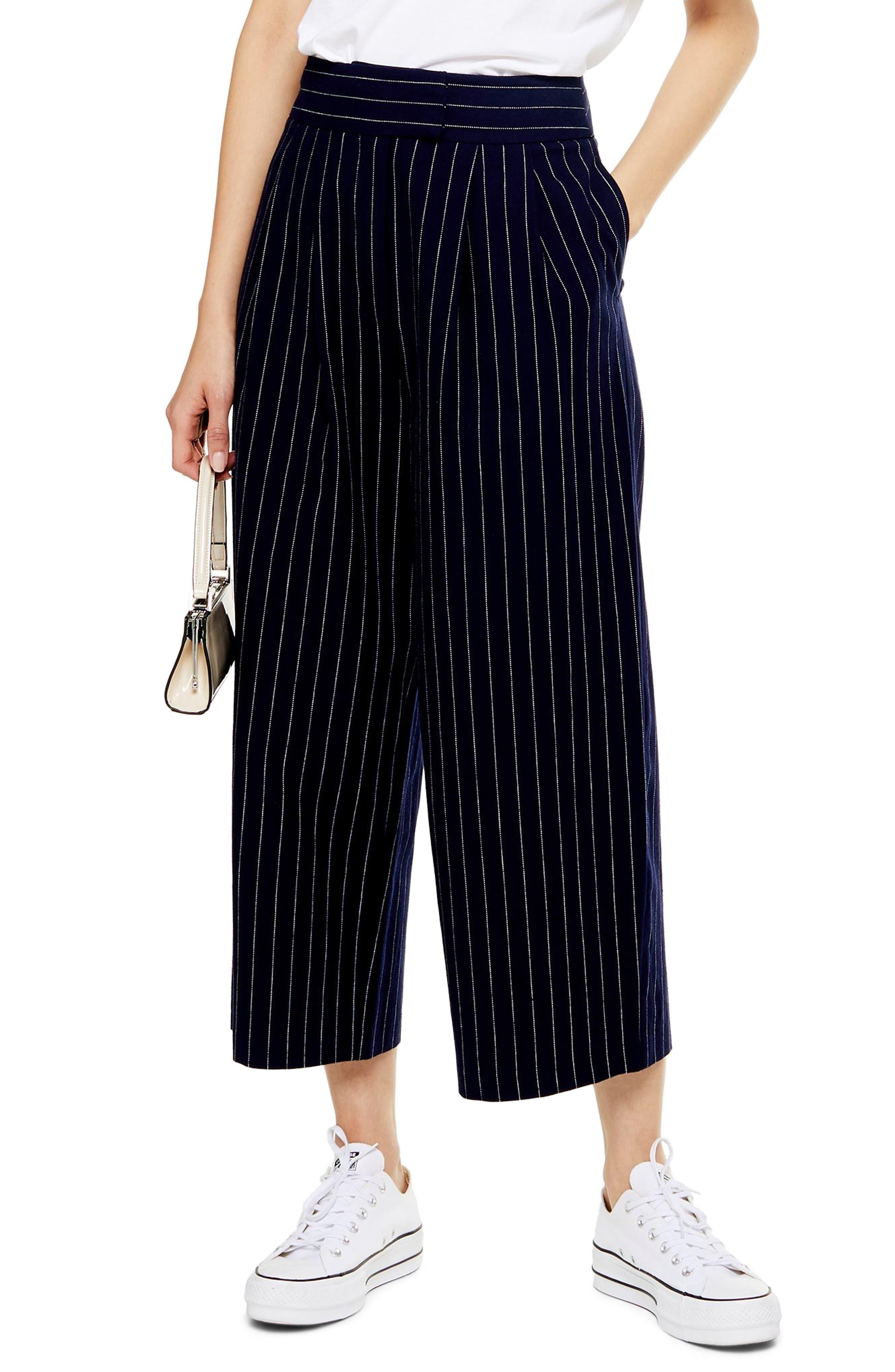 Image of TOPSHOP Pinstripe Crop Wide Leg Cotton & Linen Trousers