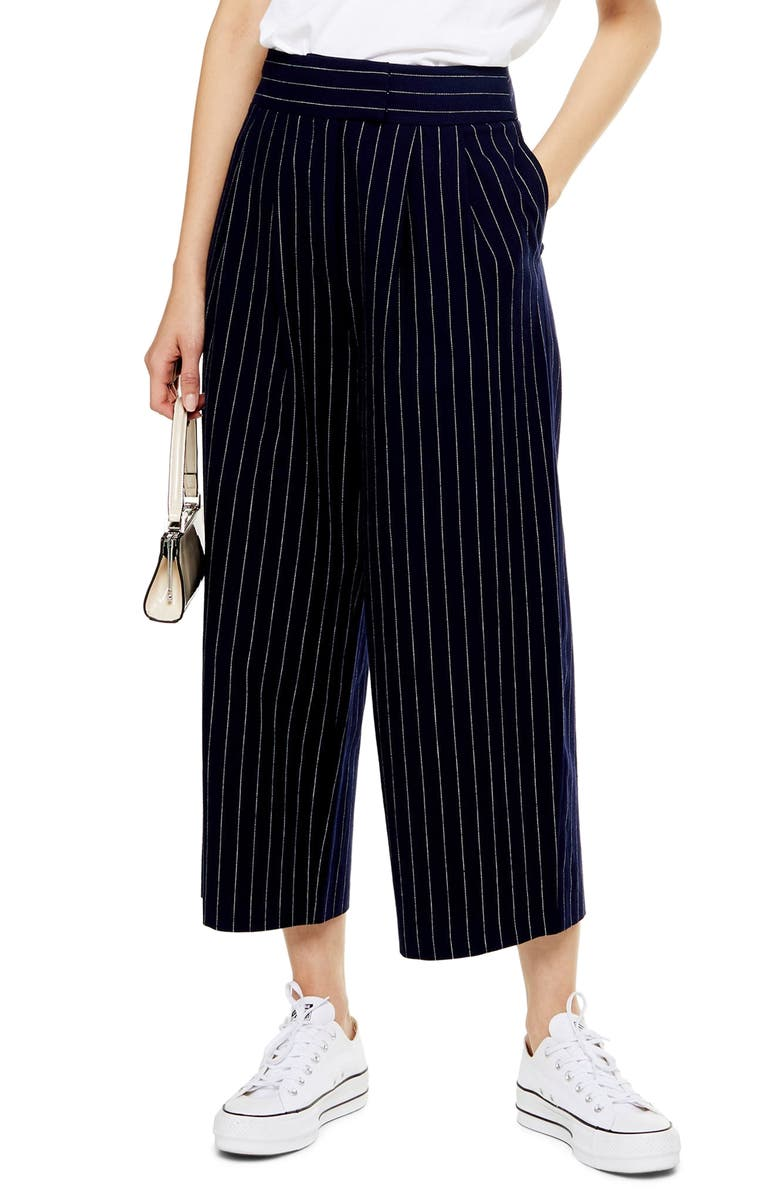 TOPSHOP Pinstripe Crop Wide Leg Cotton & Linen Trousers, Main, color, NAVY MULTI