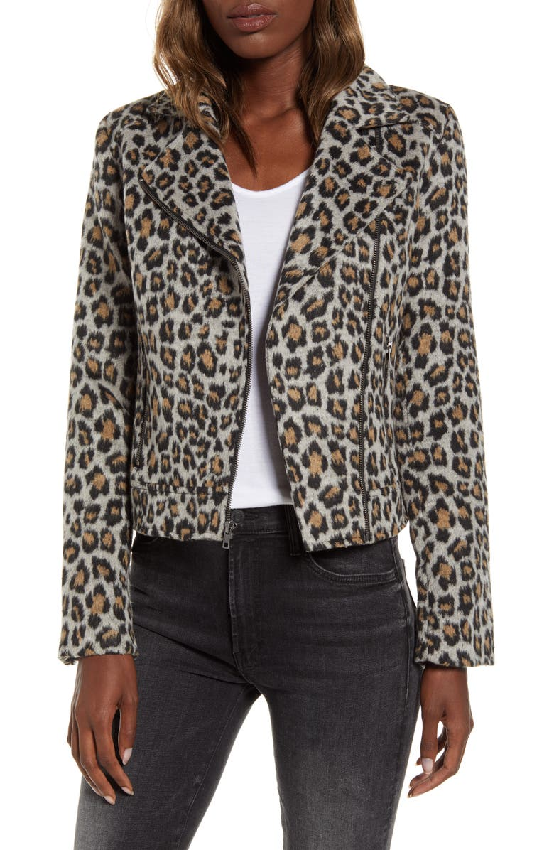CUPCAKES AND CASHMERE Leopard Moto Jacket, Main, color, HEATHER GREY