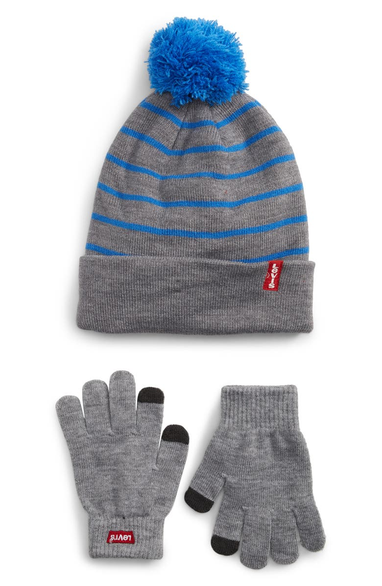 LEVI'S<SUP>®</SUP> Pompom Hat & Touchscreen Gloves Set, Main, color, STRONG BLUE