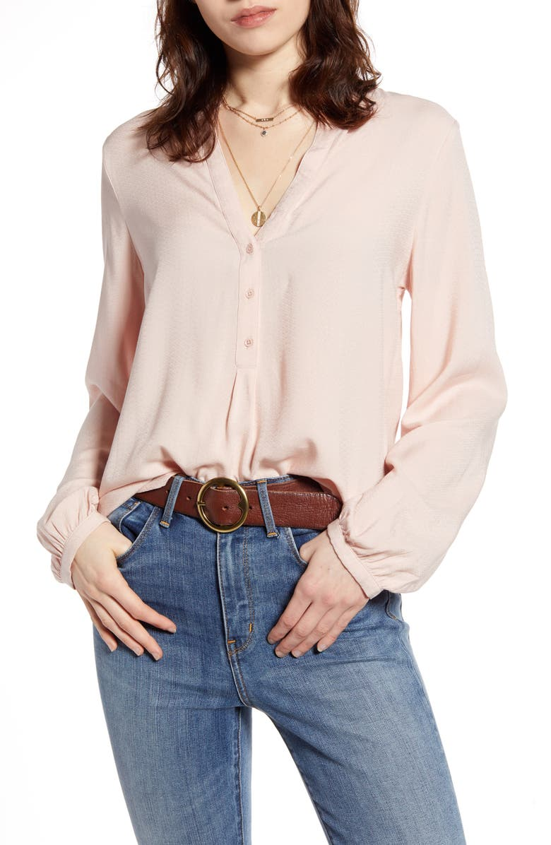 TREASURE & BOND Popover Long Sleeve Blouse, Main, color, PINK SEPIA
