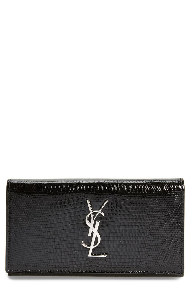 SAINT LAURENT Lizard Embossed Leather Wallet, Main, color, NOIR