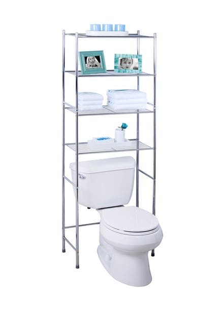 Image of Honey-Can-Do Chrome 4-Tier Over the Toilet Space Saver