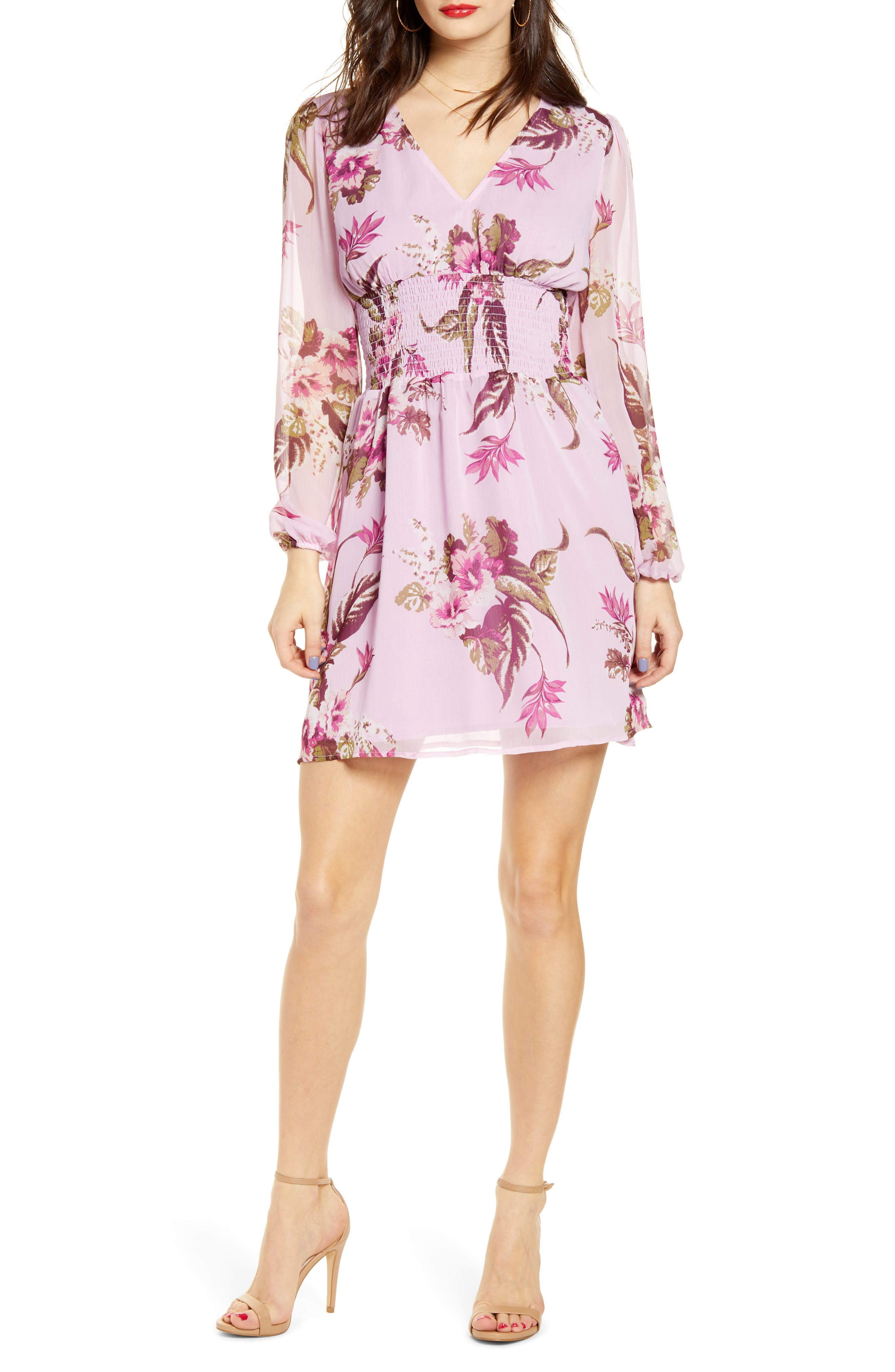 Plus Size Leith Smocked Waist Floral Print Long Sleeve Minidress, Size - Pink