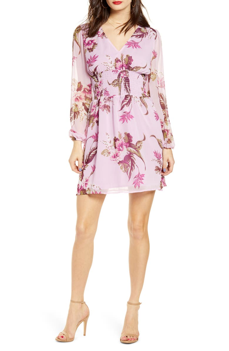 LEITH Smocked Waist Floral Print Long Sleeve Minidress, Main, color, PINK BOUQUET PANSY FLRL