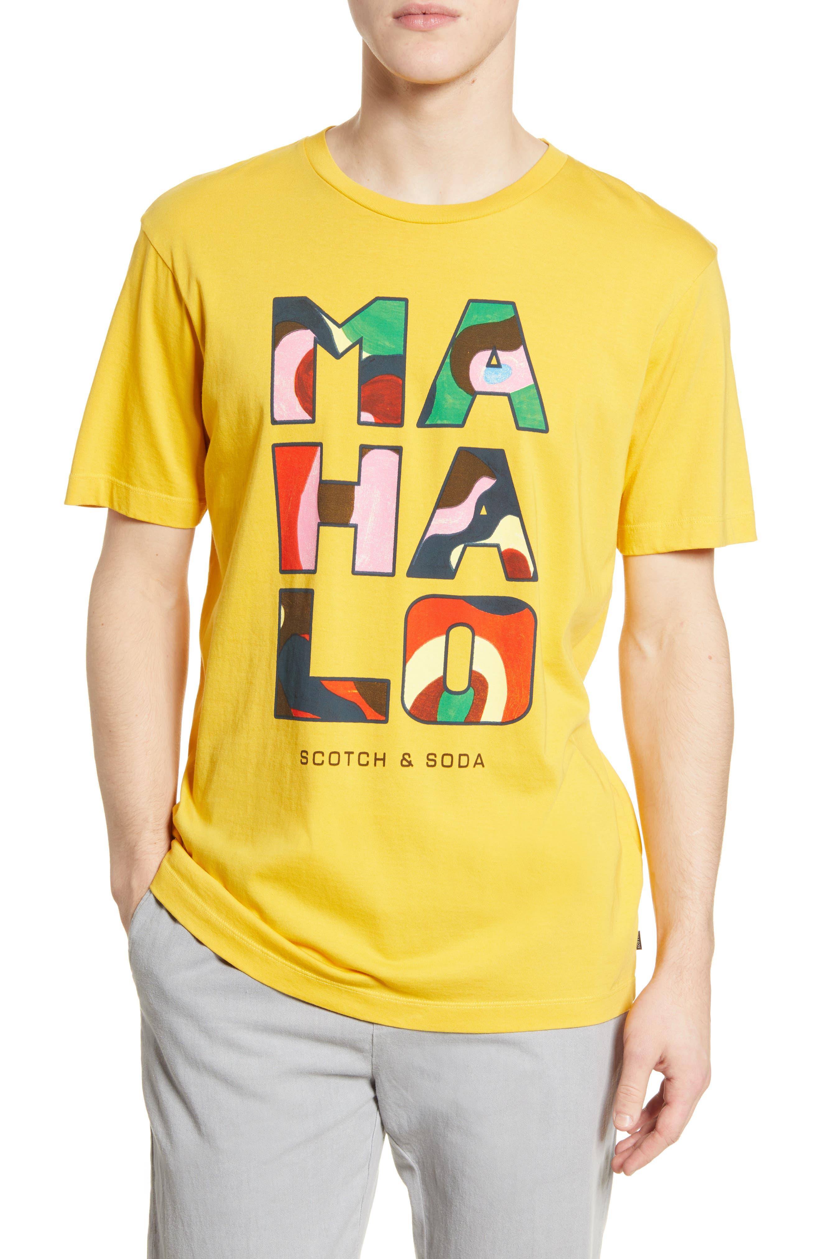 Scotch & Soda Hawaii Artwork Graphic T-shirt In 3501-ochre Spice