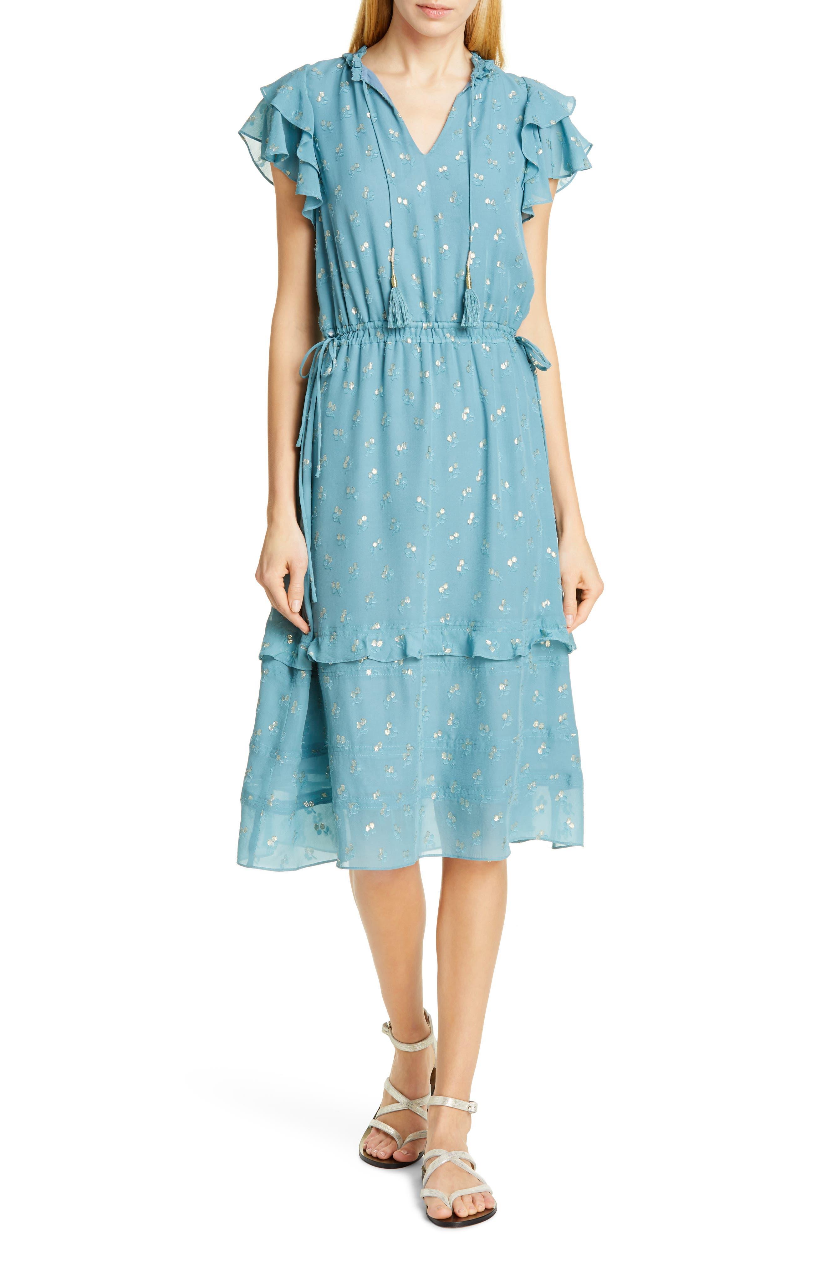 Dolan Jamie Tassel Tie Metallic Silk Jacquard Dress, Blue