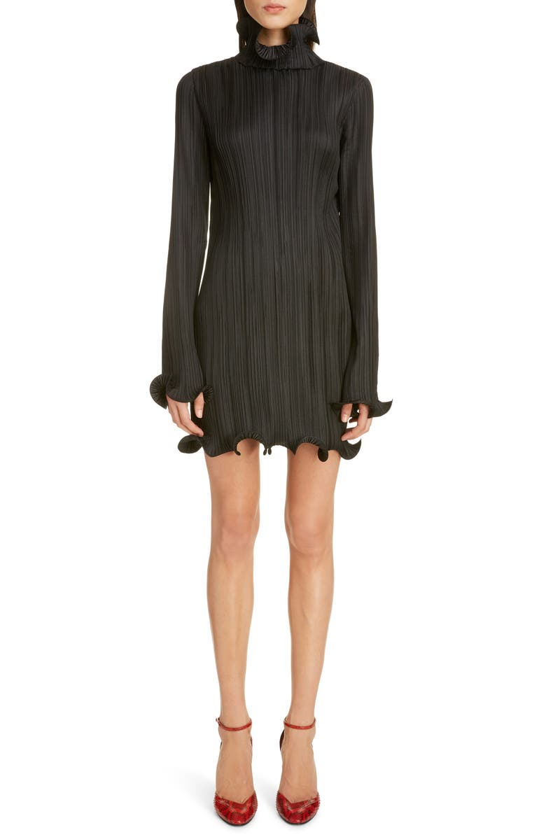 GIVENCHY Ruffle Trim Long Sleeve Plissé Minidress, Main, color, BLACK