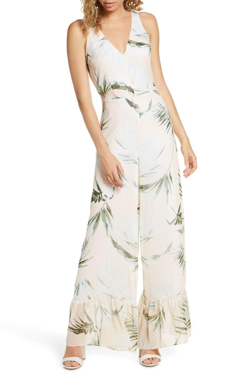 AVEC LES FILLES Royal Palm Wide Leg Jumpsuit, Main, color, PEACH MULTI