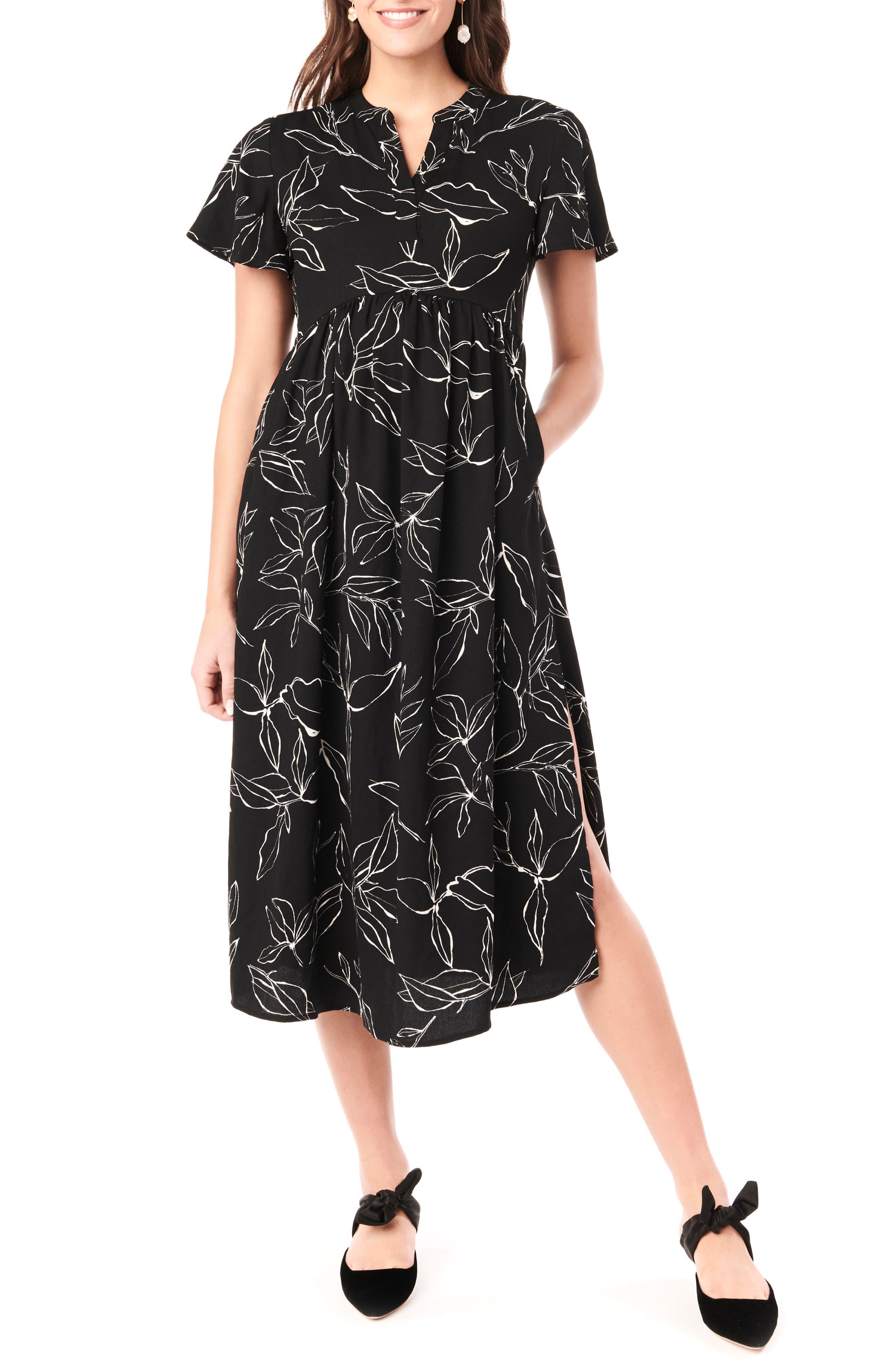 Loyal Hana Lily Flutter Sleeve Maternity Midi Dress