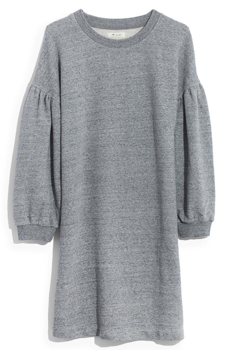 MADEWELL Bubble Sleeve Sweatshirt Dress, Main, color, 020