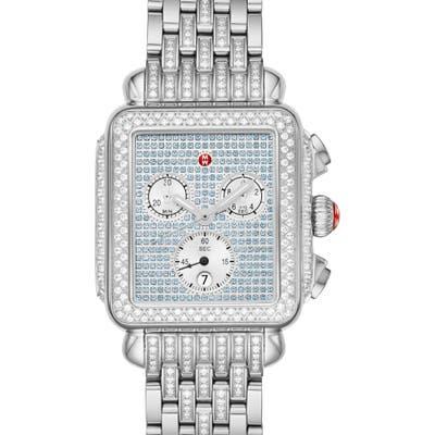 Michele Deco Diamond Chronograph Watch Head & Bracelet, 3m X 35Mm