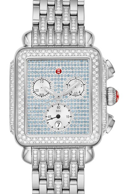 Michele Deco Diamond Chronograph Watch Head & Bracelet, 33mm X 35mm In Silver/ Sapphire/ Silver