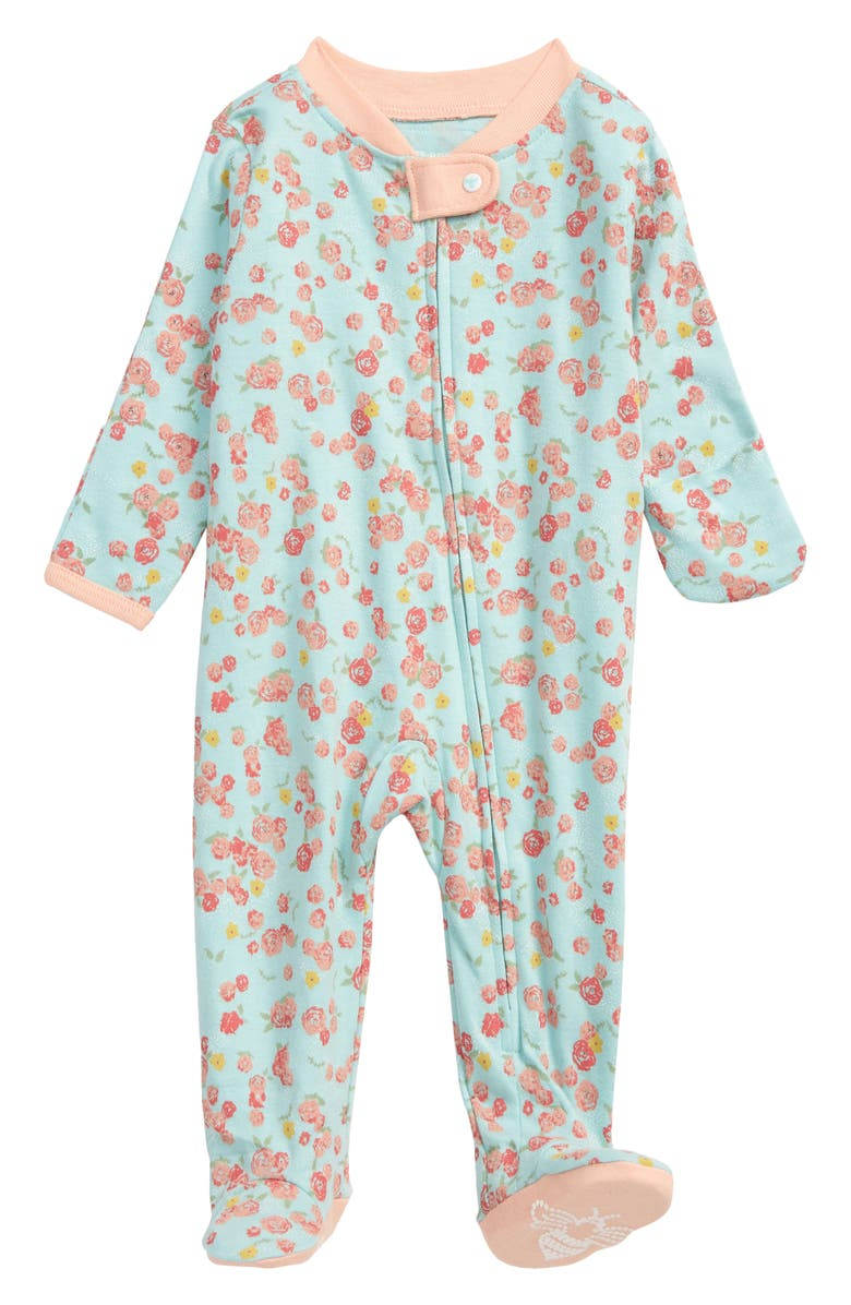 BURT'S BEES BABY Ditsy Floral Print Organic Cotton Fitted One-Piece Pajamas, Main, color, BLUE SKY