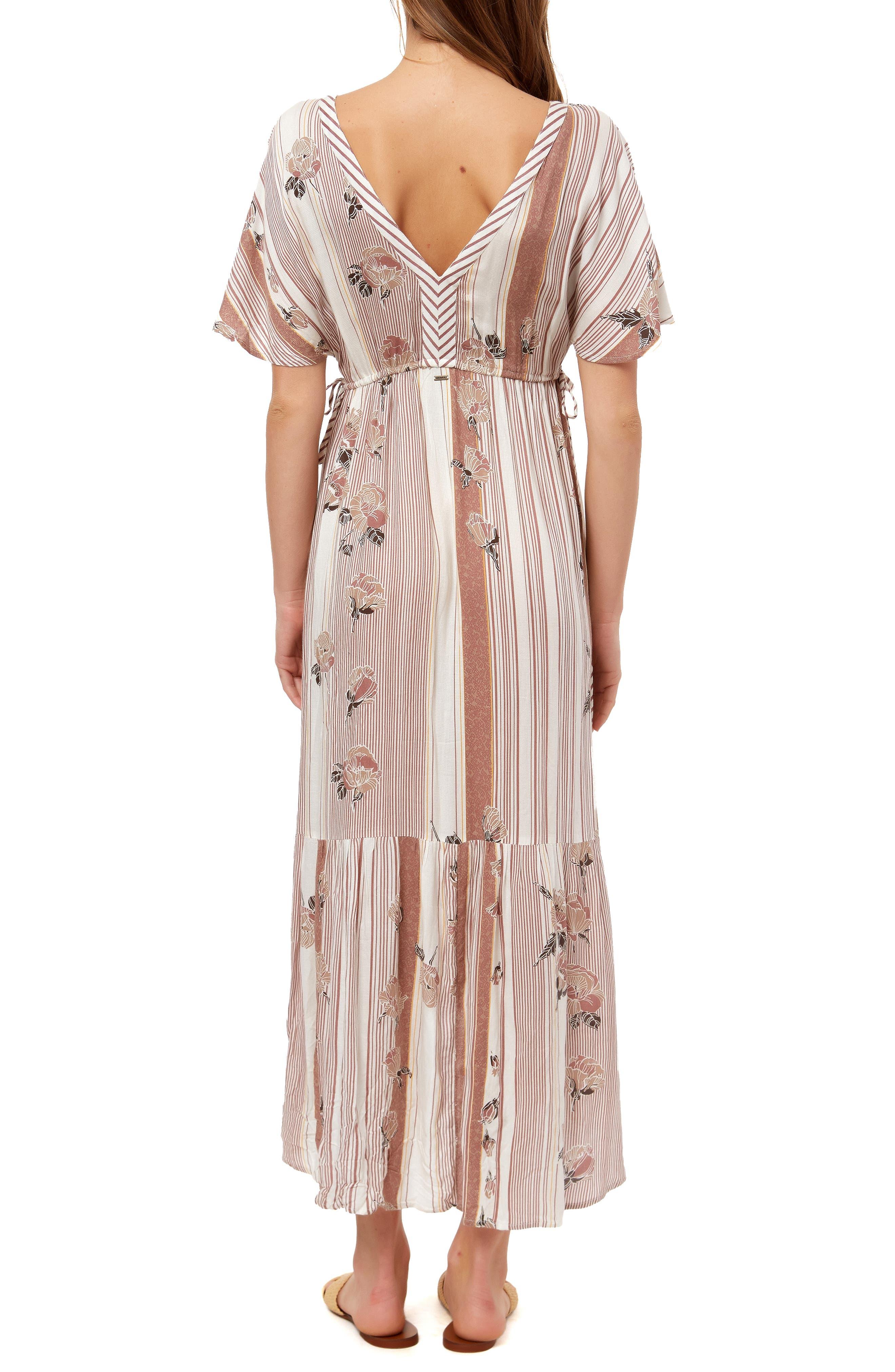 ,                             Angie Floral Stripe Midi Dress,                             Alternate thumbnail 2, color,                             MULTI COLORED