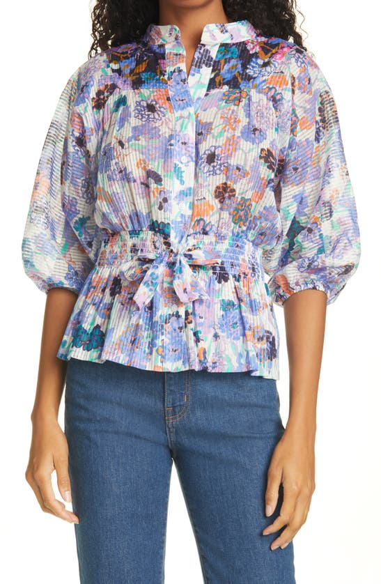 Tanya Taylor Otis Floral Cotton Blouse In Mixed Meadow Ivory/ Navy