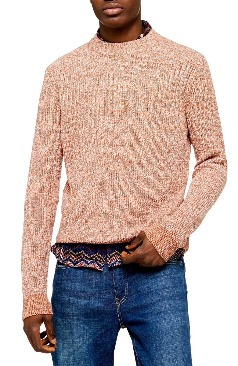 TOPMAN Classic Fit Ribbed Mock Neck Sweater, Main, color, BROWN