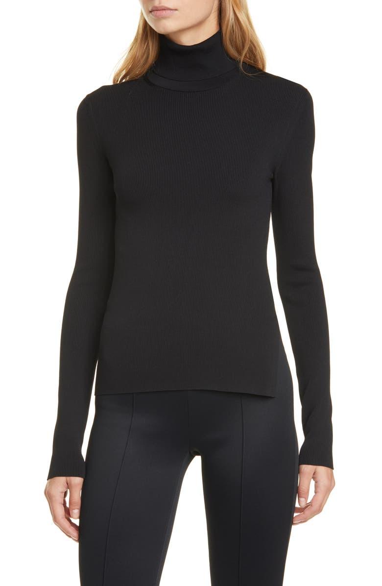 HELMUT LANG Rib Turtleneck Sweater, Main, color, BLACK
