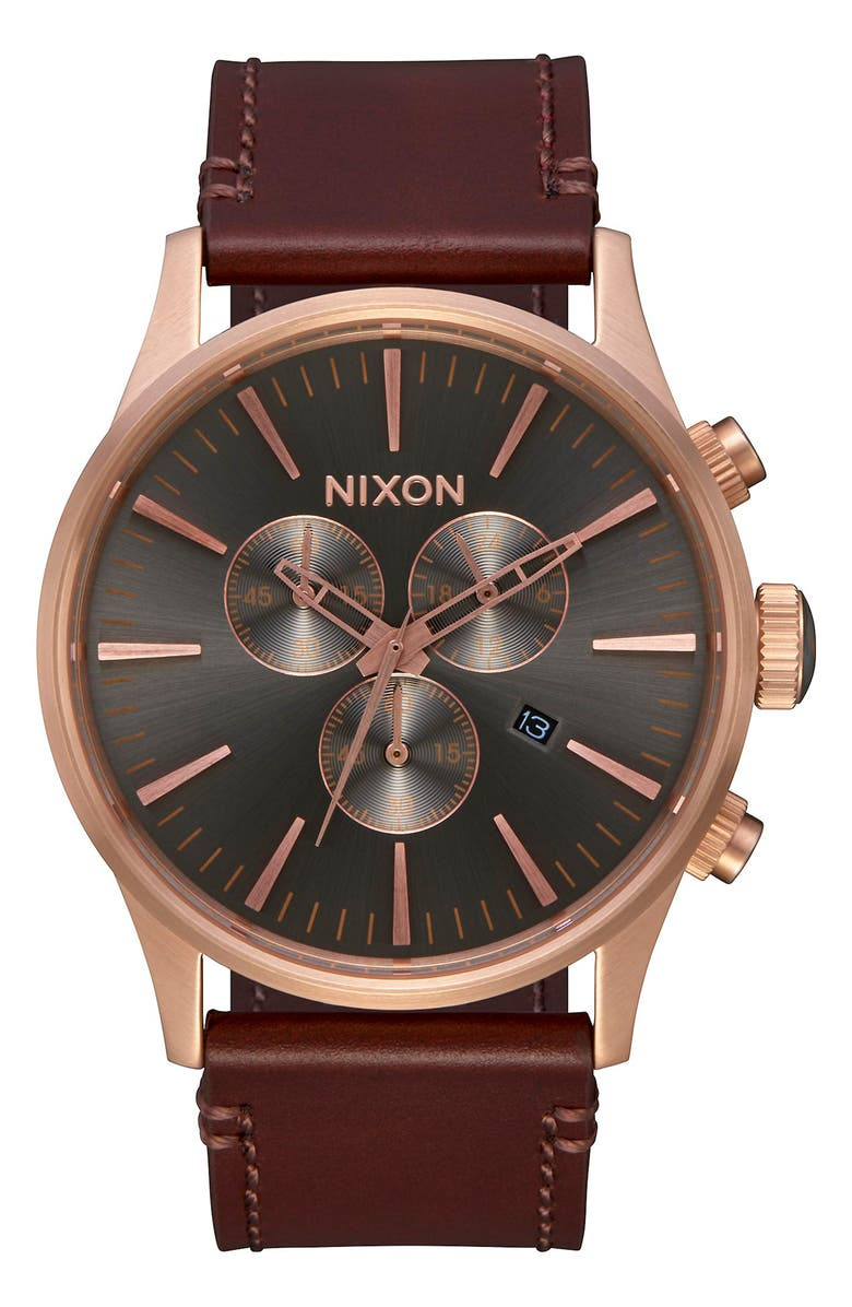 NIXON The Sentry Chronograph Leather Strap Watch, 42mm, Main, color, BROWN/ GUNMETAL/ ROSE GOLD