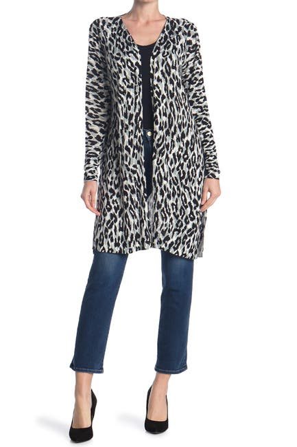 Image of Sweet Romeo Leopard Print Jersey Open Drape Cardigan