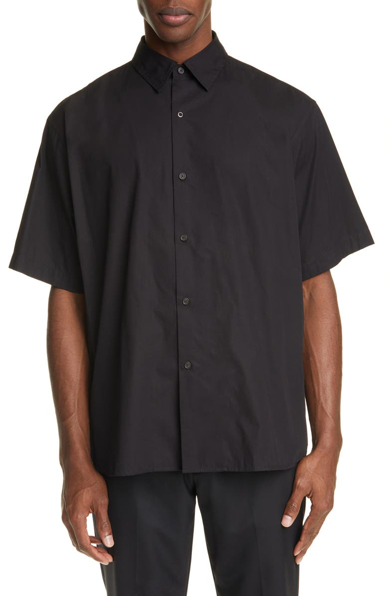 ACNE STUDIOS Shepton Oversize Short Sleeve Button-Up Shirt, Main, color, BLACK