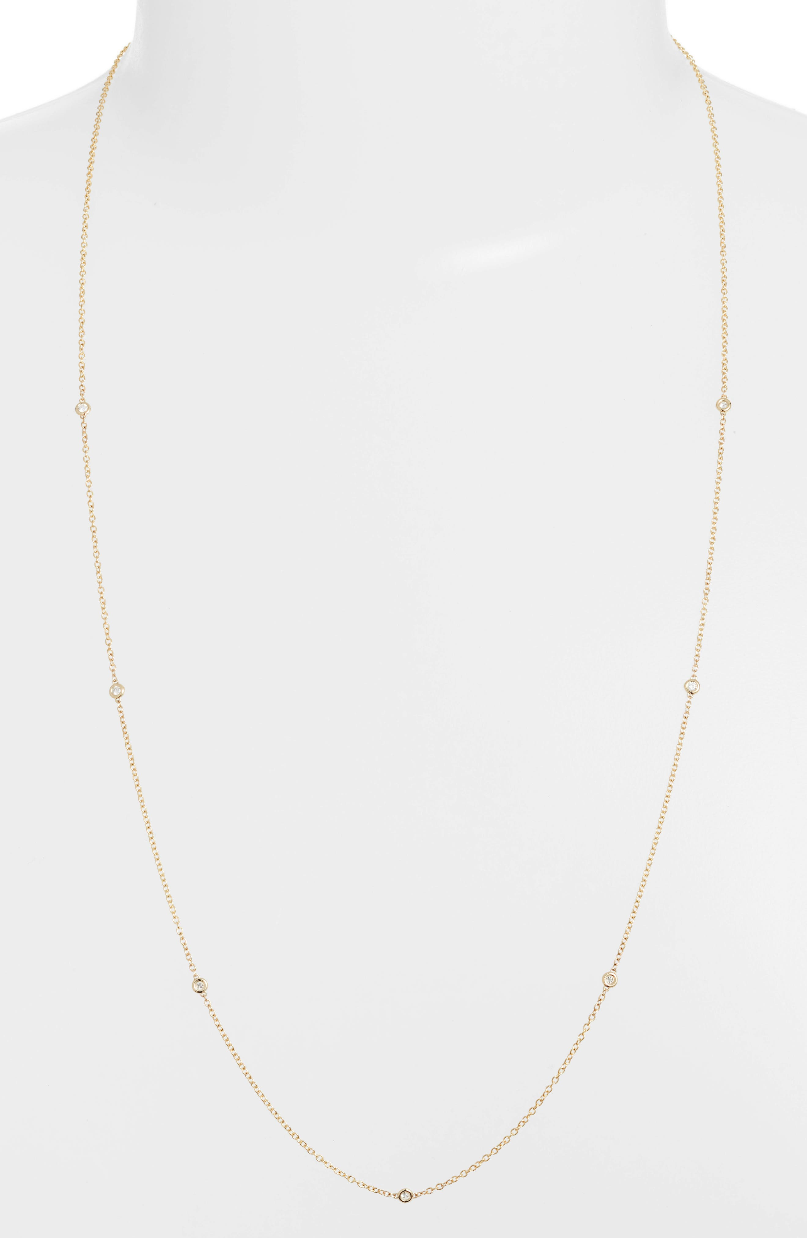 Zoe Chicco Floating Diamond Long Station Necklace