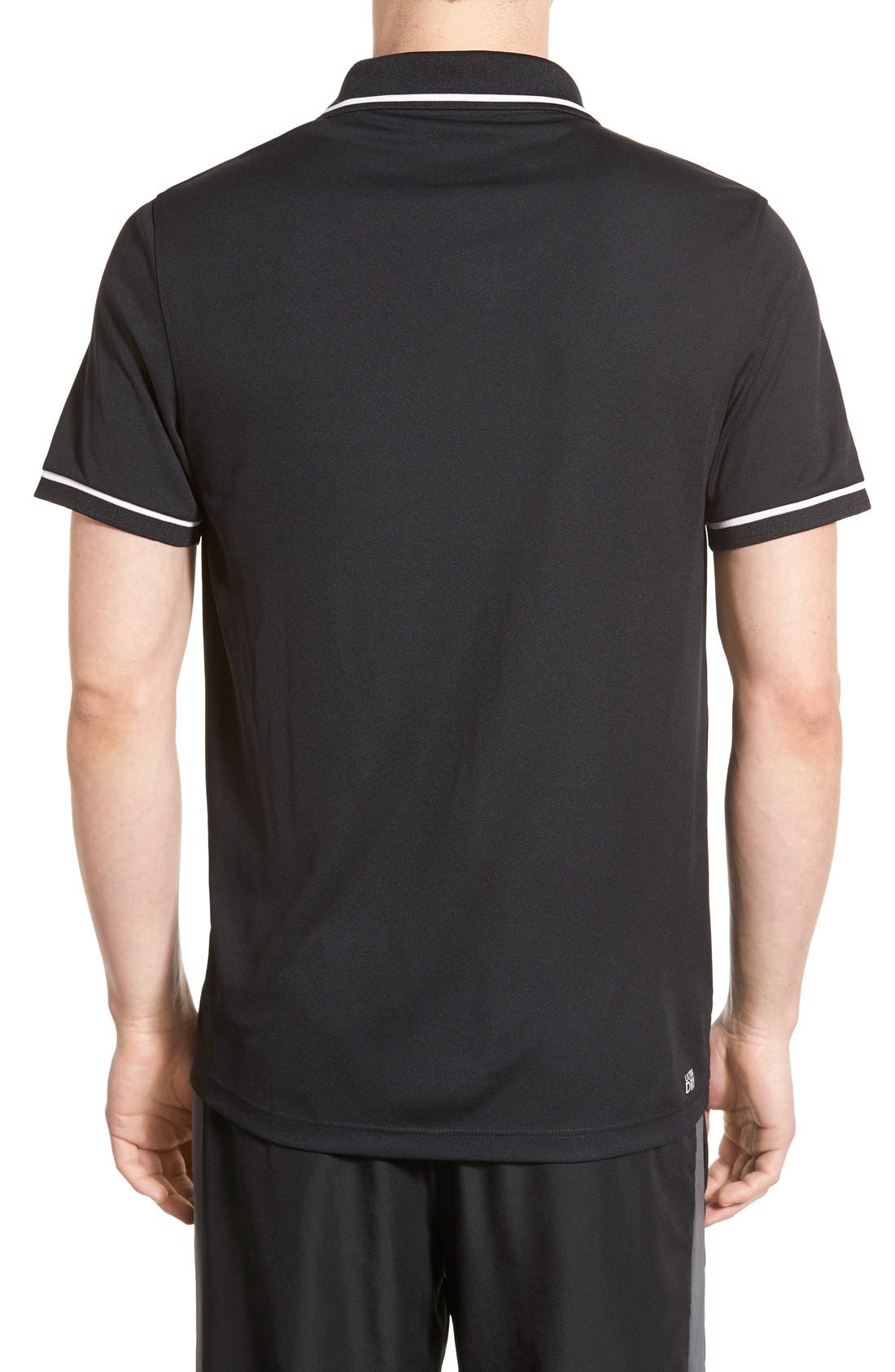 ,                             Regular Fit Tipped Quick Dry Piqué Polo,                             Alternate thumbnail 2, color,                             BLACK/ WHITE
