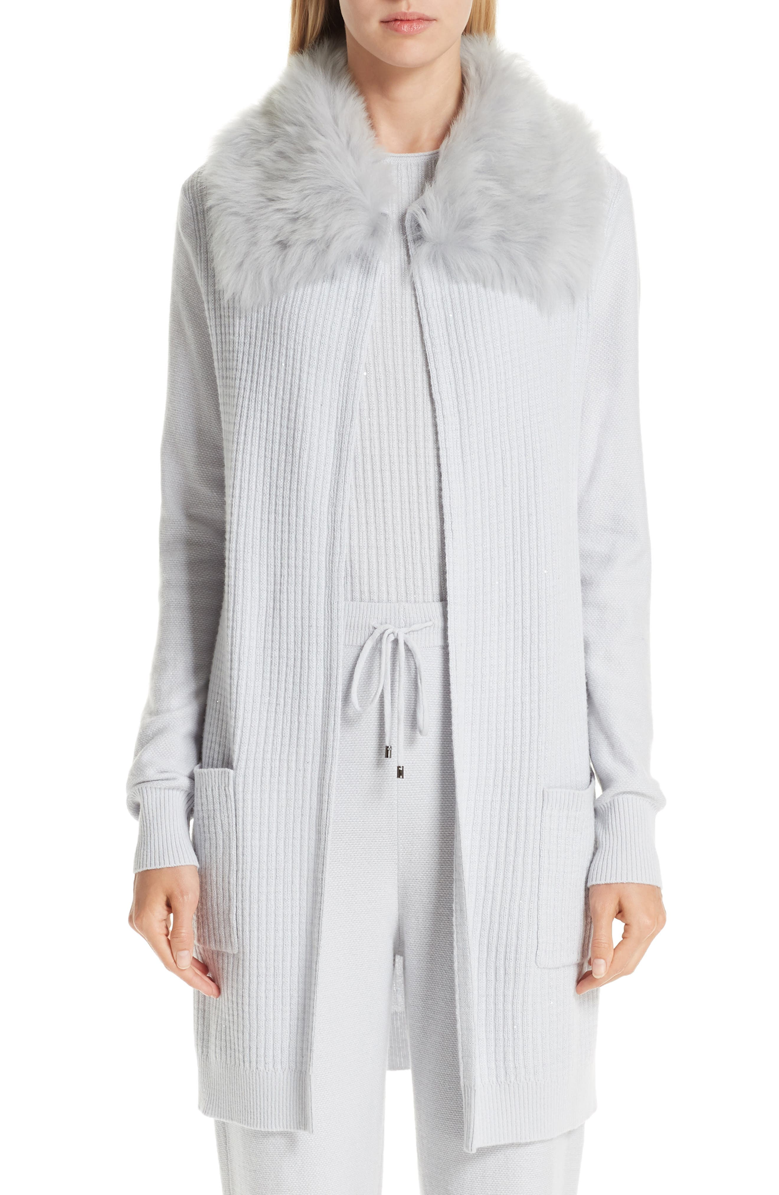 St. John Collection Rib Sequin Knit Cashmere Blend Jacket With Removable Genuine Shearling Collar, Grey
