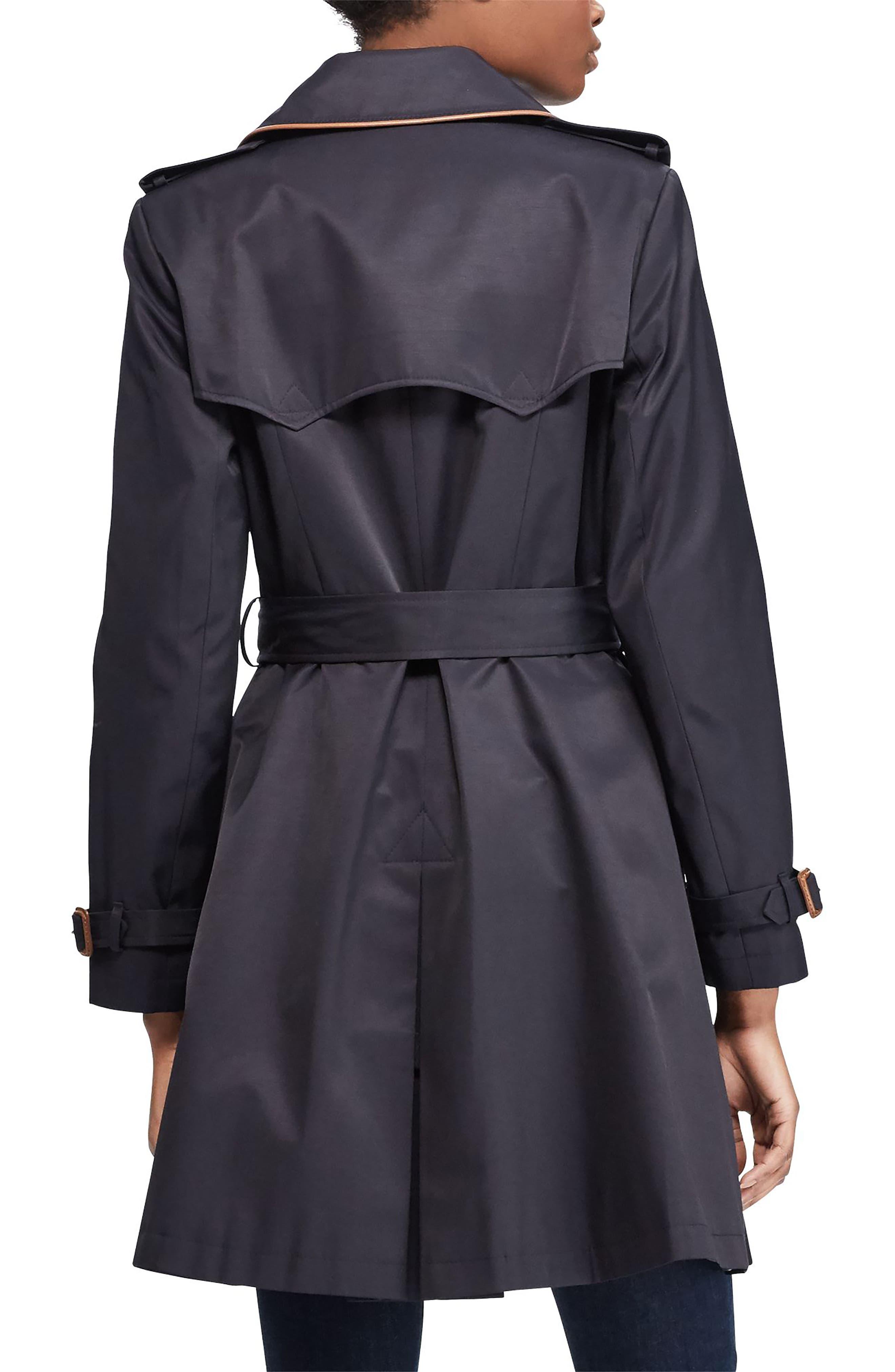,                             Faux Leather Trim Trench Coat,                             Alternate thumbnail 12, color,                             411