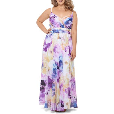 Plus Size Xscape Pleated Floral Chiffon A-Line Gown, Yellow