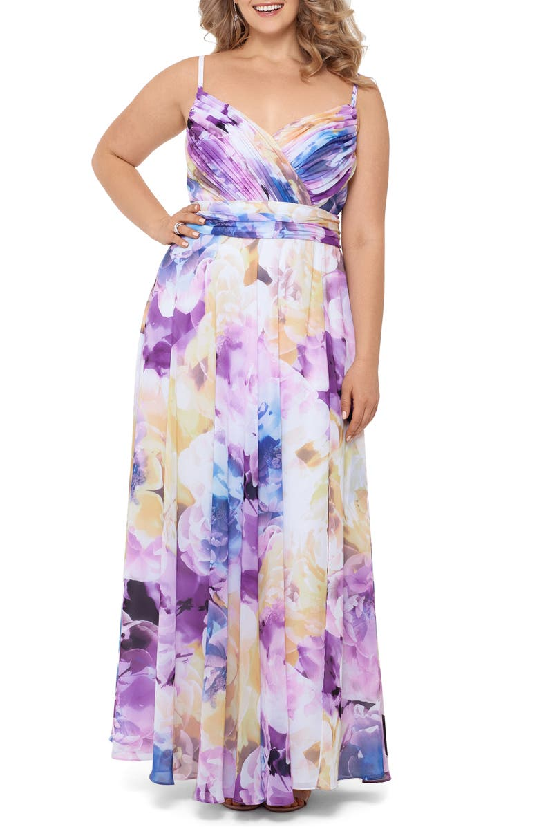 XSCAPE Pleated Floral Chiffon A-Line Gown, Main, color, 737