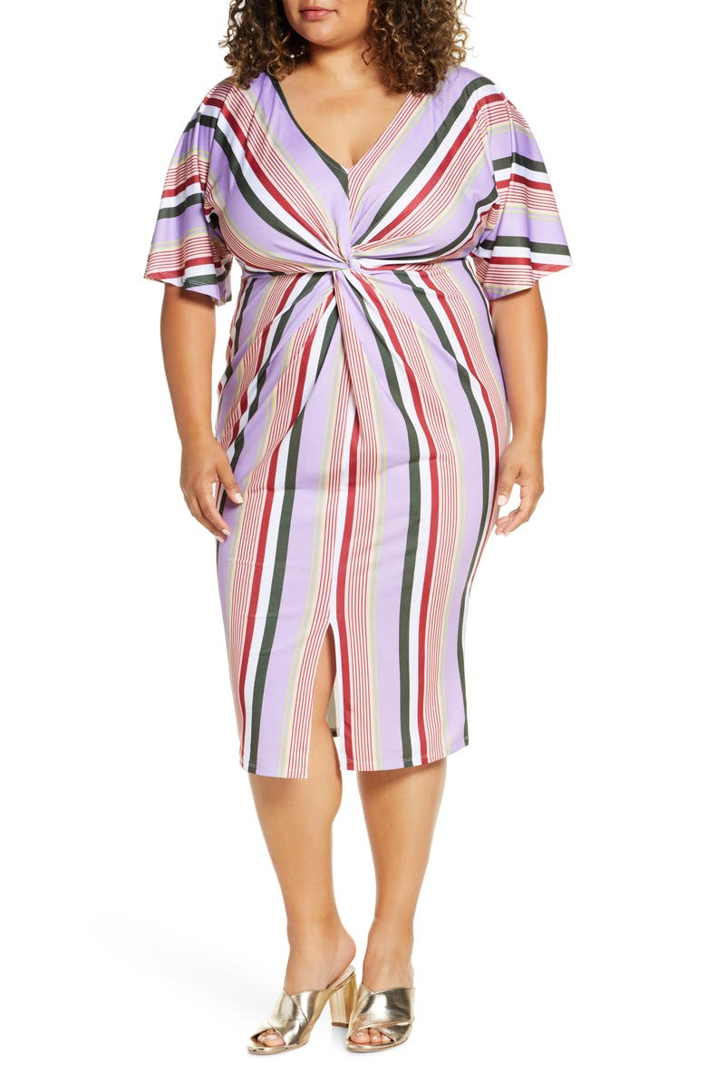 ELOQUII Twist Front V-Neck Dress, Main, color, STRIPE IT UP