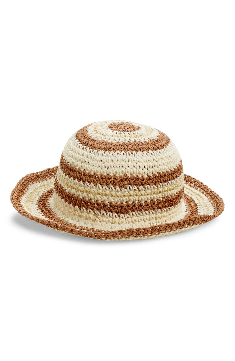 TREASURE & BOND Stripe Raffia Packable Bucket Hat, Main, color, NATURAL COMBO