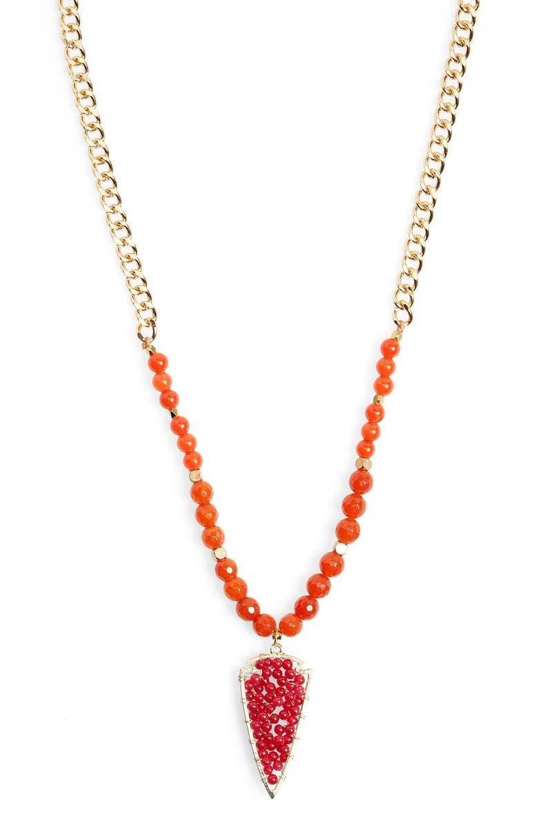 PANACEA Beaded Arrowhead Pendant Necklace, Main, color, 800