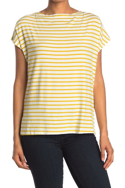 Image of EMELIA Striped Cap Sleeve Knit Top
