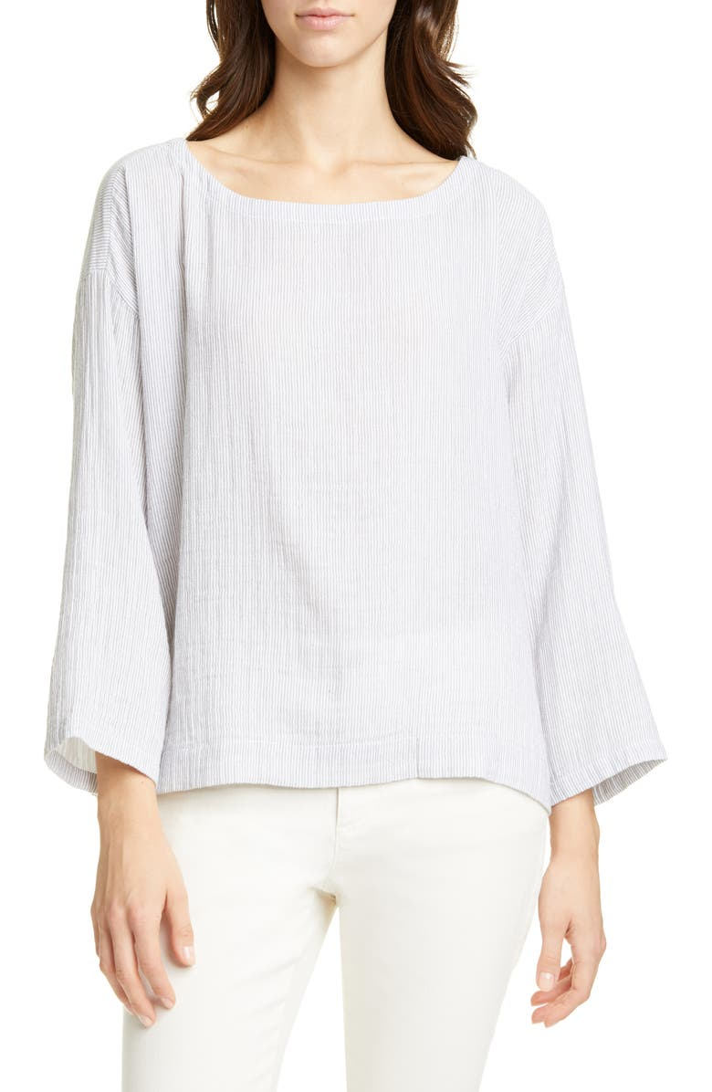 EILEEN FISHER Ballet Neck Stripe Organic Cotton Top, Main, color, WHITE/ ASH