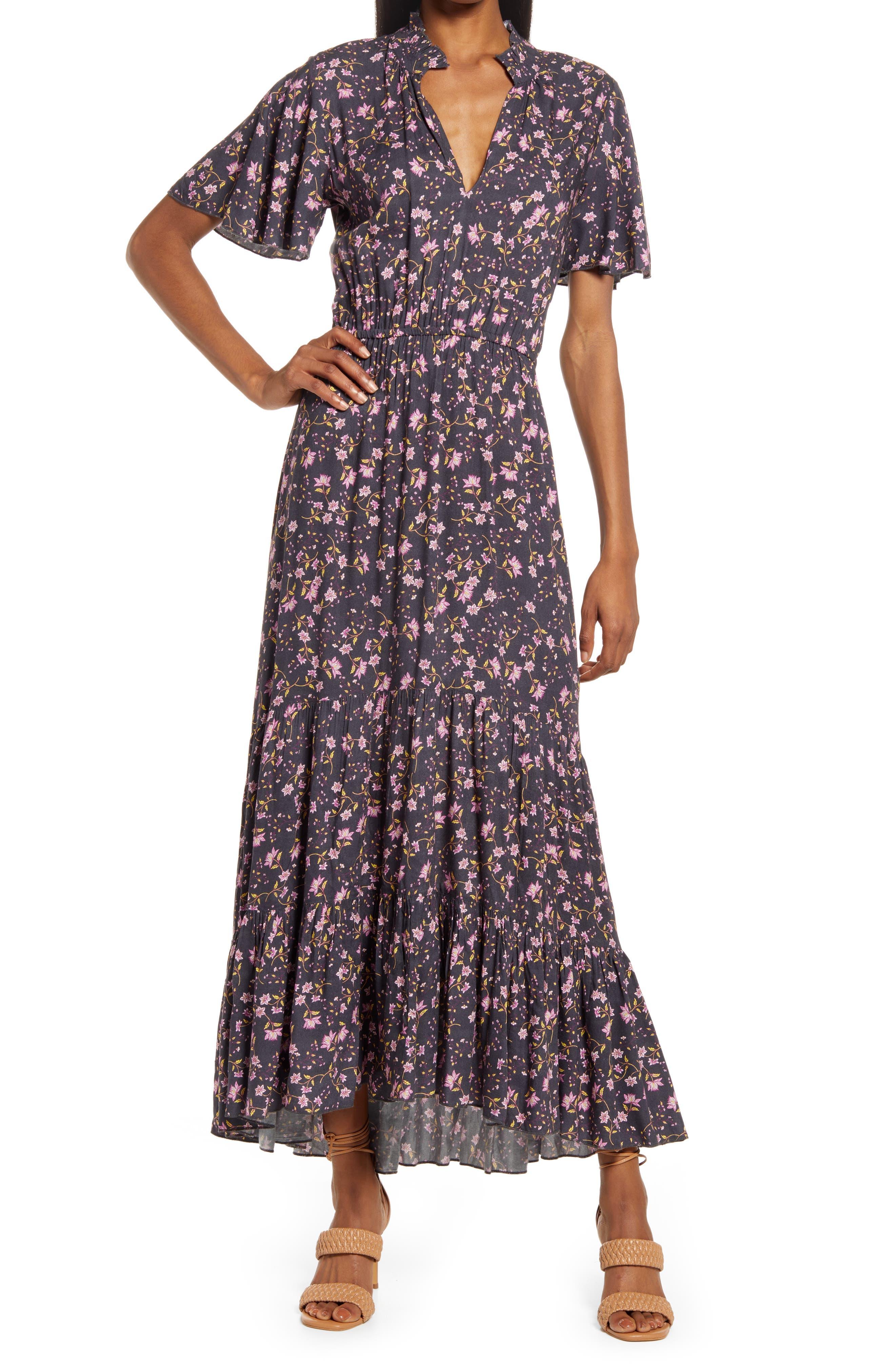 Amelia Floral Ruffle Hem Maxi Dress