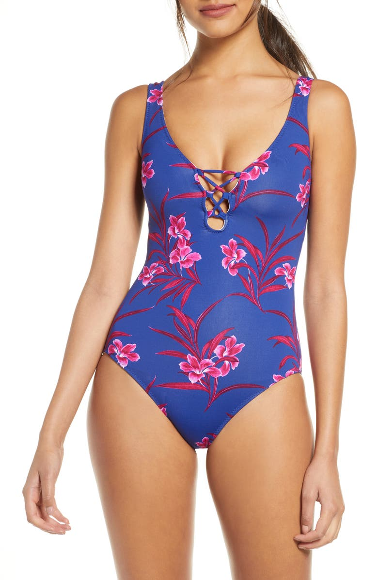 TOMMY BAHAMA Oasis Blossoms One-Piece Swimsuit, Main, color, 400